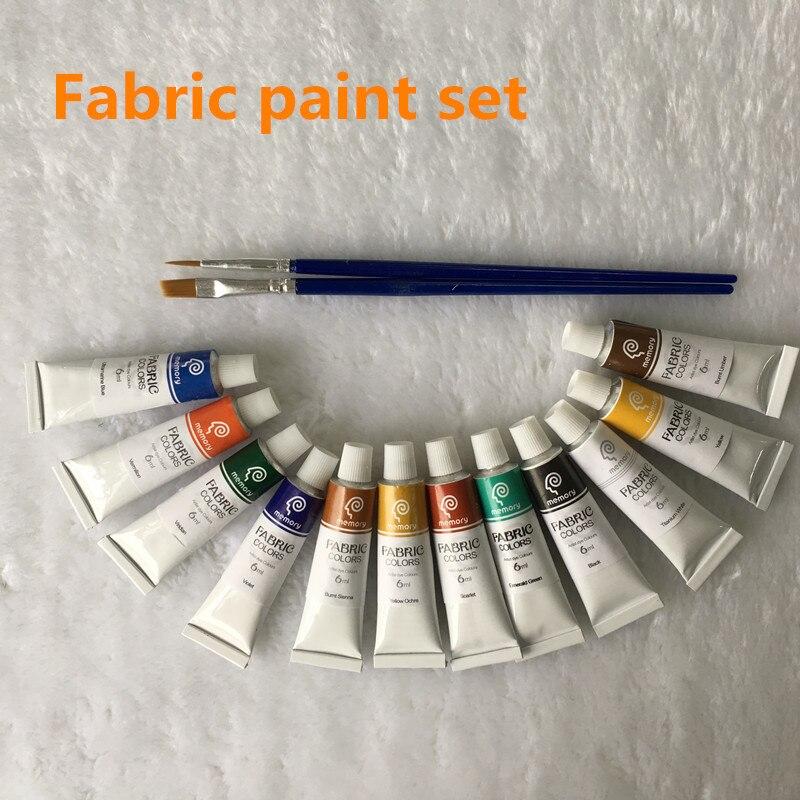 Cores de Tecido Pintura profissional Não Toxic12 Cores 6ml Cor Conjunto Têxtil Cores Pigmentos Livre Para A Escova