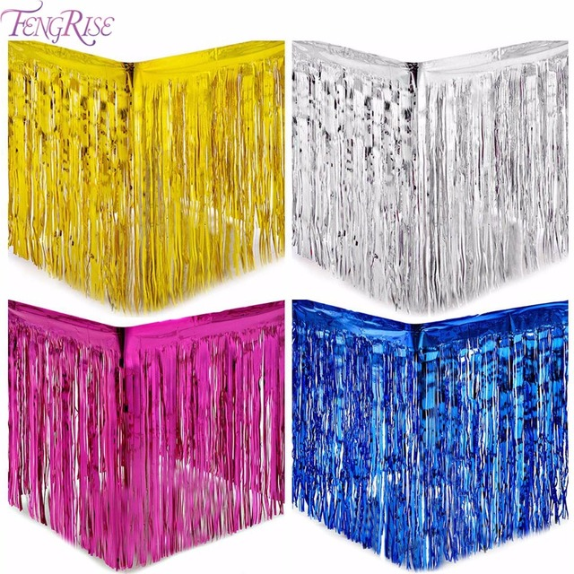 Fengrise metallic fringe table skirt gold foil fringe for Anniversary decoration at home