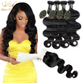 7a malaysian Body hair with closure Body wave with closure human hair 4 bundles with closure malaysian virgin hair with closure
