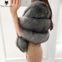 Ladies Natural Fur Coat For Bridge Women Vest Fox Poncho Wedding Full Pelt Genuine Fur Cape Winter White Real Fox Fur Shawl