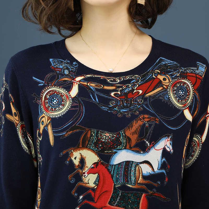 YISU 2019 свитер высокого качества Весна Осень Свободный вязаный свитер цветной принт лошади пуловер женский свитер с круглым вырезом Женские топы