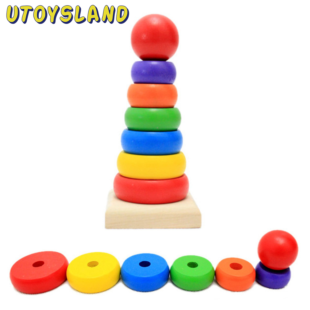 UTOYSLAND Rainbow Stacker Blocks Wooden Toy Colorful Tower Montessori Educational Toys for Children Kids Baby Gift Drop Shipping free ship 1 set of 100pc children kids natural wooden build blocks montessori sensorial early development educational material