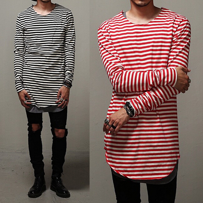 Swag Clothes Mens Curve Oversized Striped T Shirt Elongated Red ...