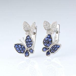 Image 4 - Santuzzaジュエリーセット女性のための本物の925スターリングシルバーゴージャスなブルー蝶イヤリングリングセット光沢のあるczファッションジュエリー