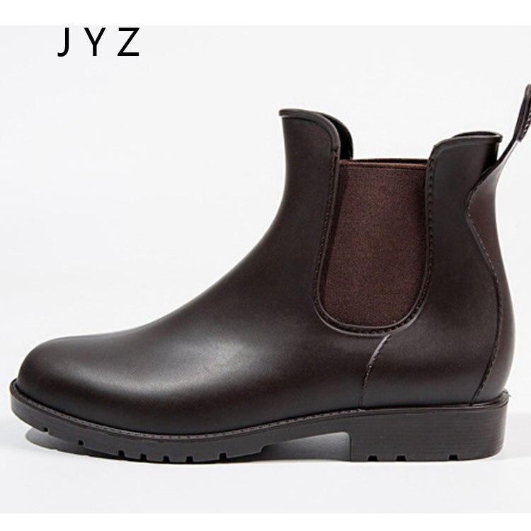 Fashion New Womens Rain Boots Waterproof Shoes Flats Autumn Casual Lady Size 40 41 42 43 wo180828