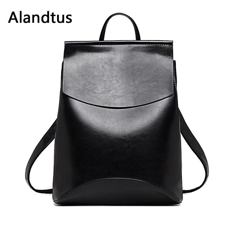 Alandtus Women Backpack Genuine Leather Backpacks For Teenage Girls Female School Bag Large Capacity Bagpack Mochila Feminina