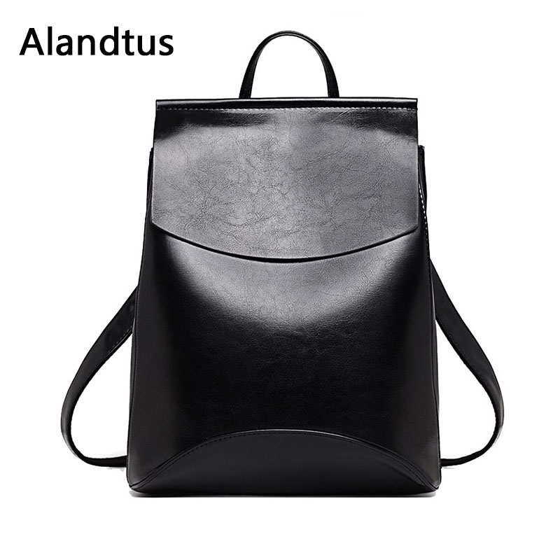 Alandtus Women Backpack Genuine Leather Backpacks For Teenage Girls Female School Bag Large Capacity Bagpack Mochila Feminina