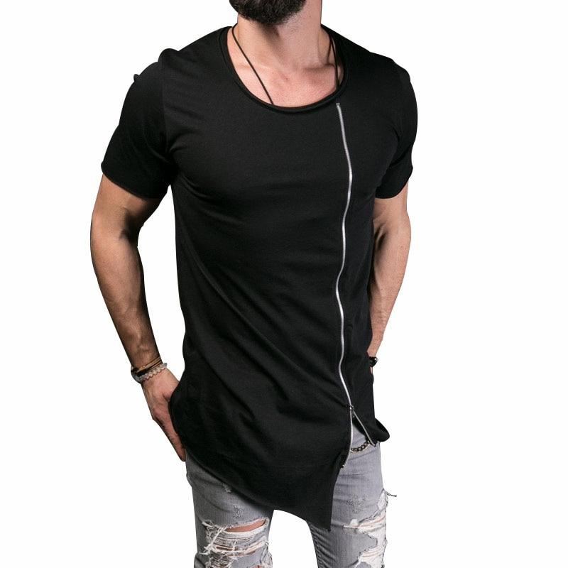 New Style 2017 Men T Shirt Zipper Long Asymmetry Mens T Shirt Short Sleeve Funny O-Neck Solid Color T Shirt Men's