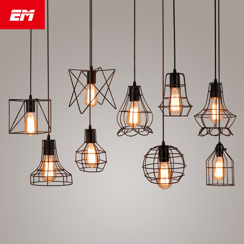 modern cage pendant light iron minimalist retro Scandinavian loft pyramid pendant lamp metal Hanging Lamp E27 Indoor ZDD0050(China)
