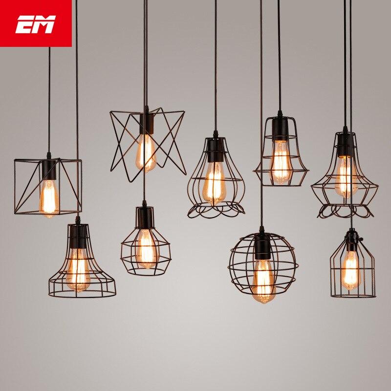 Moderna jaula colgante Luz de hierro minimalista retro escandinavo loft pirámide colgante de la lámpara de metal lámpara E27 interior ZDD0050
