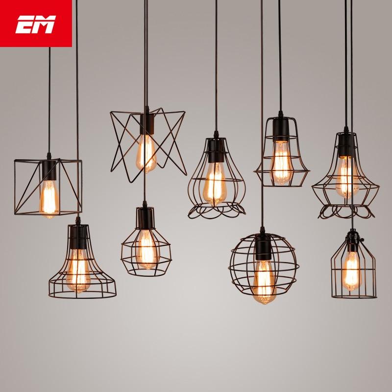 Moderne käfig anhänger licht eisen minimalistischen retro Skandinavischen loft pyramide anhänger lampe metall Hängen Lampe E27 Indoor ZDD0050