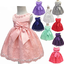 2017 Toddler Girls Christening Dresses Children Sleeveless Baptism Ball Gown with Big Bow Baby Kids Newborn Dress Vestido недорого