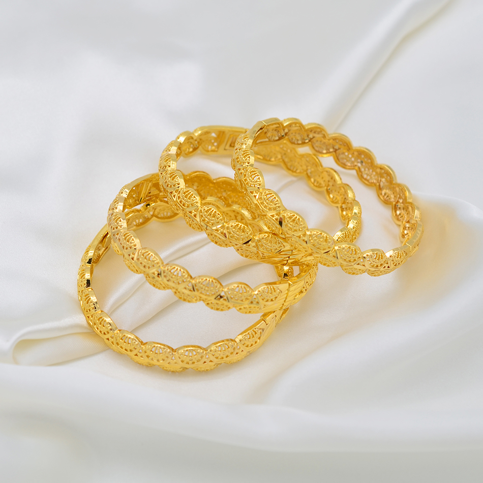 Image 5 - Anniyo 4Pieces/Openable Dubai Gold Color Women Bangles Ethiopian Bracelets&Bangles African Jewelry Arabic Middle East #211506-in Bangles from Jewelry & Accessories