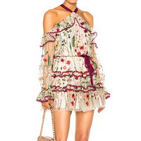HIGH QUALITY Newest 2019 Designer Dress Runway Dress Women's Halter Neck Stunning Embroidery Gauze Dress