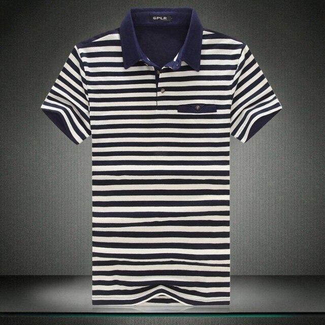 Рубашки поло мода новый 2016 летом Высокое качество поло с коротким рукавом досуг классический полосатый поло мужчины большие размеры 6XL 5XL-M