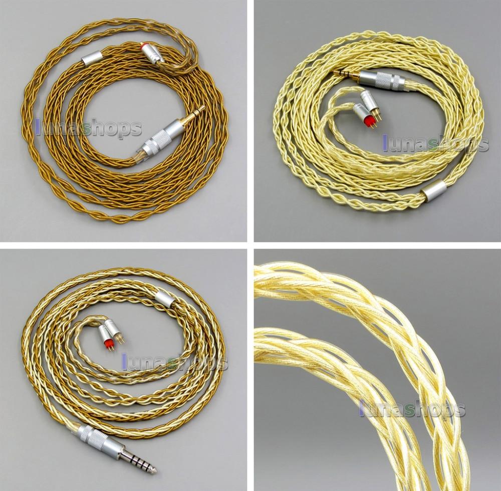 Pure OCC Silver+Golden Plated Earphone Cable For 0.78mm 2pin Westone W4r 1964 Custom LN005975 800 wires soft silver occ alloy teflo aft earphone cable for ultimate ears ue tf10 sf3 sf5 5eb 5pro triplefi 15vm ln005407