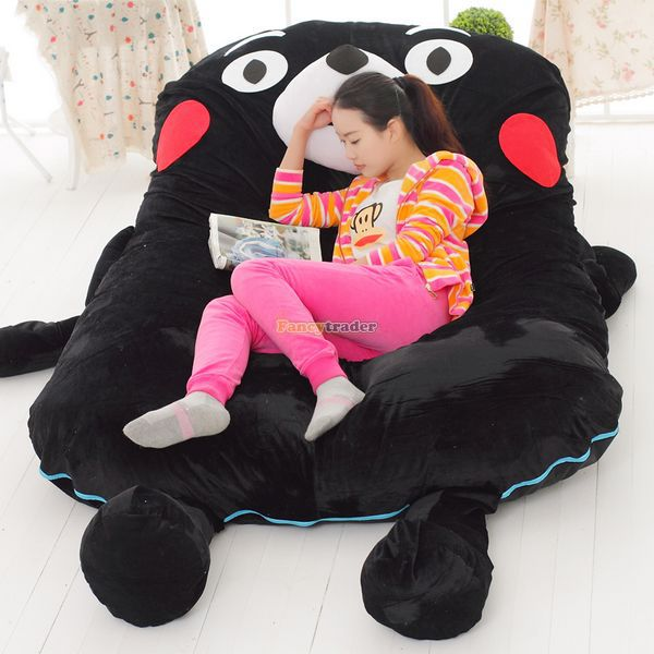 Fancytrader 200cm X 135cm Lovely Stuffed Jumbo Soft Plush Kumamon Bear Bed Tatami Sofa Mattress, Nice Gift, FT50664 fancytrader new style giant plush stuffed kids toys lovely rubber duck 39 100cm yellow rubber duck free shipping ft90122