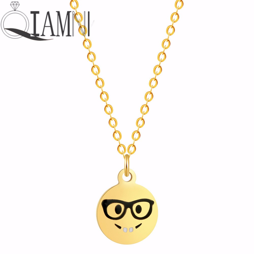QIAMNI Funny Black Glasses Smile Facial Expression Face Emoji Chain Pendant Necklace Birthday Gift Women