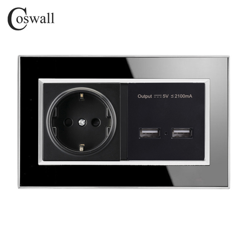 Coswall Black 146 Type 16A EU Socket Power Outlet Dual USB Smart Charging Port 2.1A Wall Charger Adapter Acrylic Panel adriatica часы adriatica 3176 1111q коллекция twin