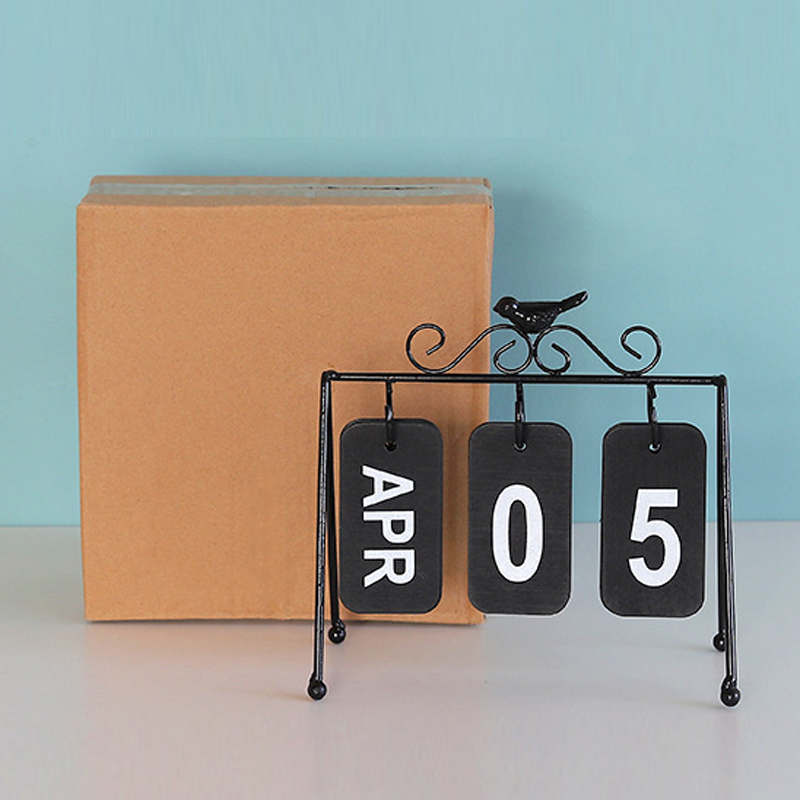 Wooden Iron Ring Calendar Desktop Art Crafts Nordic Style Home Decoration Accessories for School Livingroom Officeroom Gifts Color : Black