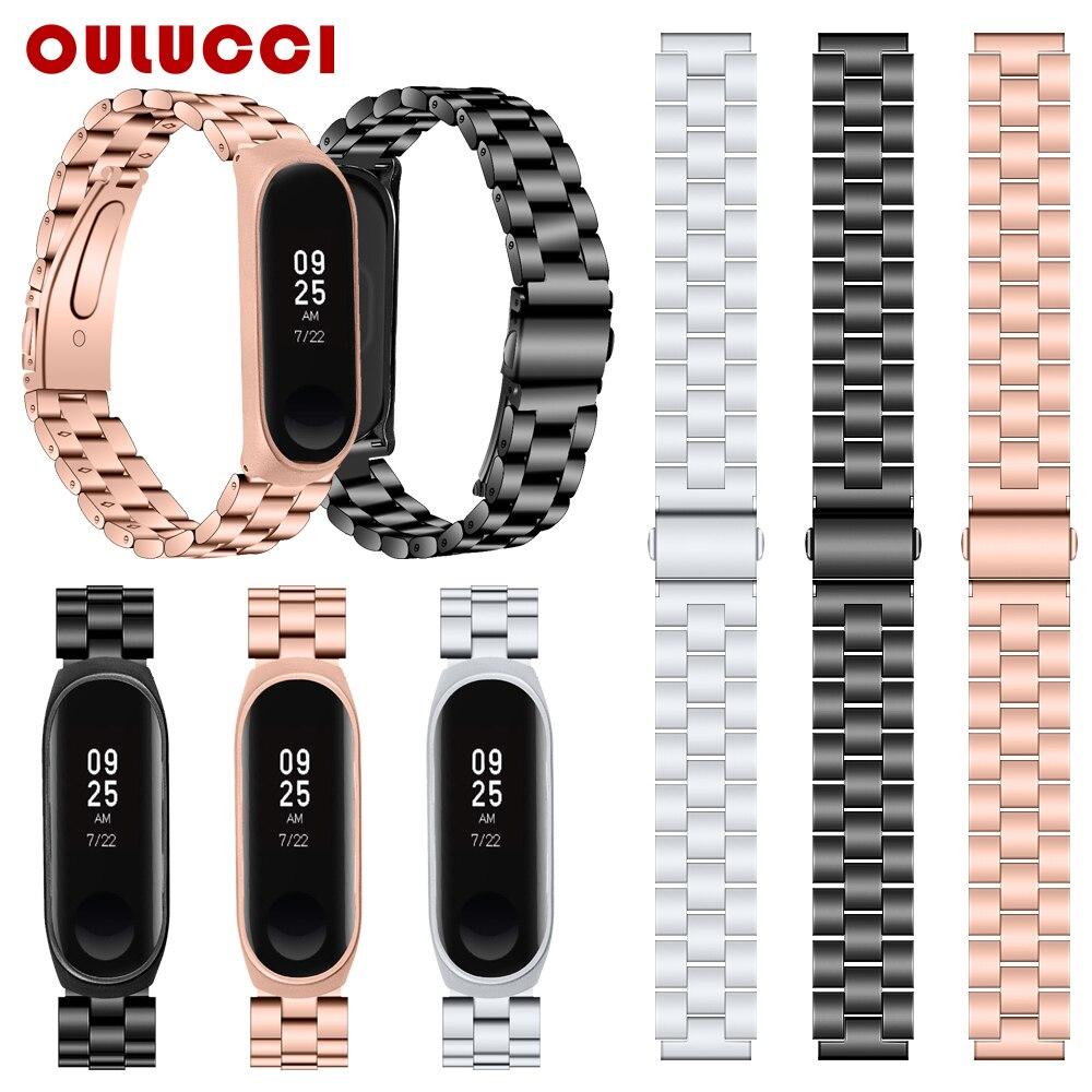 OULUCCI Metal Strap For Xiaomi Band 4 Strap Stainless Steel Bracelet Strap For Xiaomi Mi Band 3 Strap Mi Band 4 Strap