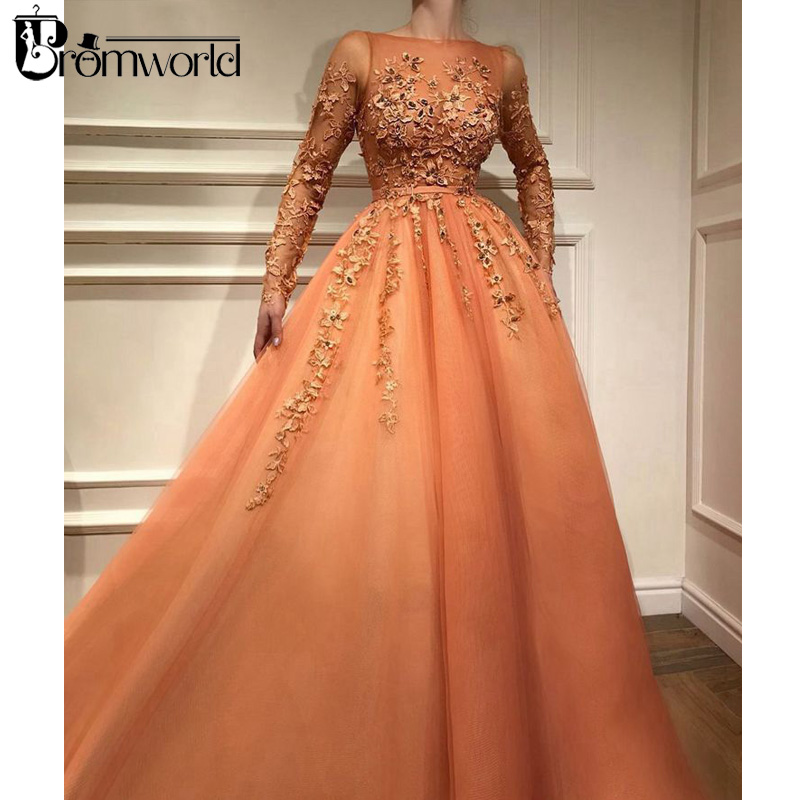 Orange Muslim Evening Dresses 2019 Scoop Neckline Long Sleeves Evening Gown Lace Beaded Tulle A-Line Formal Party Dress