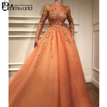 Orange Muslim Evening Dresses 2019 Scoop Neckline Long Sleeves Gown Lace Beaded Tulle A-Line Formal Party Dress