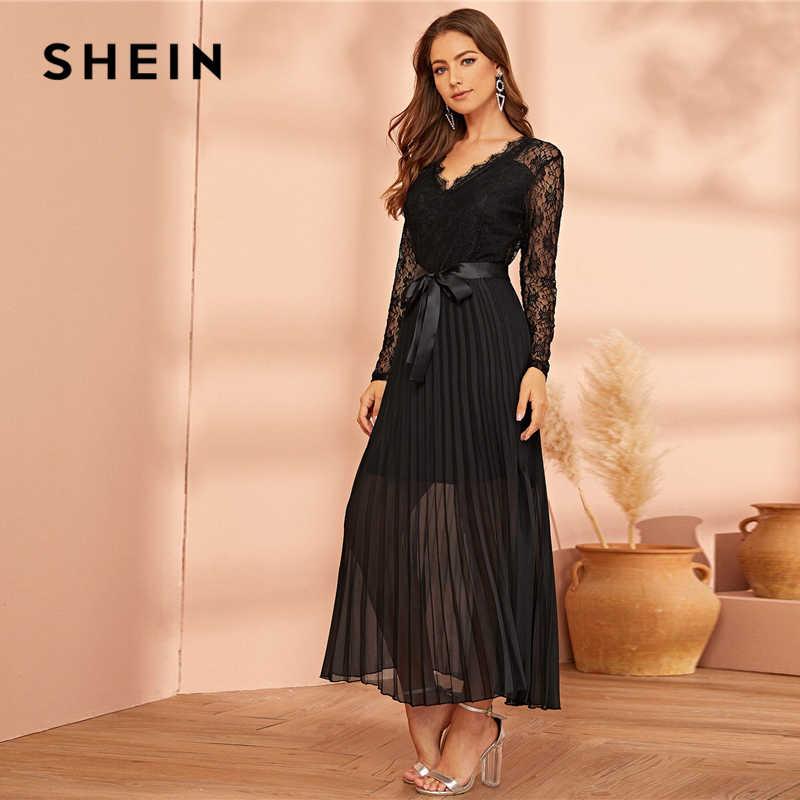 SHEIN, черное кружевное платье с поясом, плиссированное Прозрачное платье, женское осеннее платье с v-образным вырезом, облегающее и расклешенное, с высокой талией, вечерние длинные платья