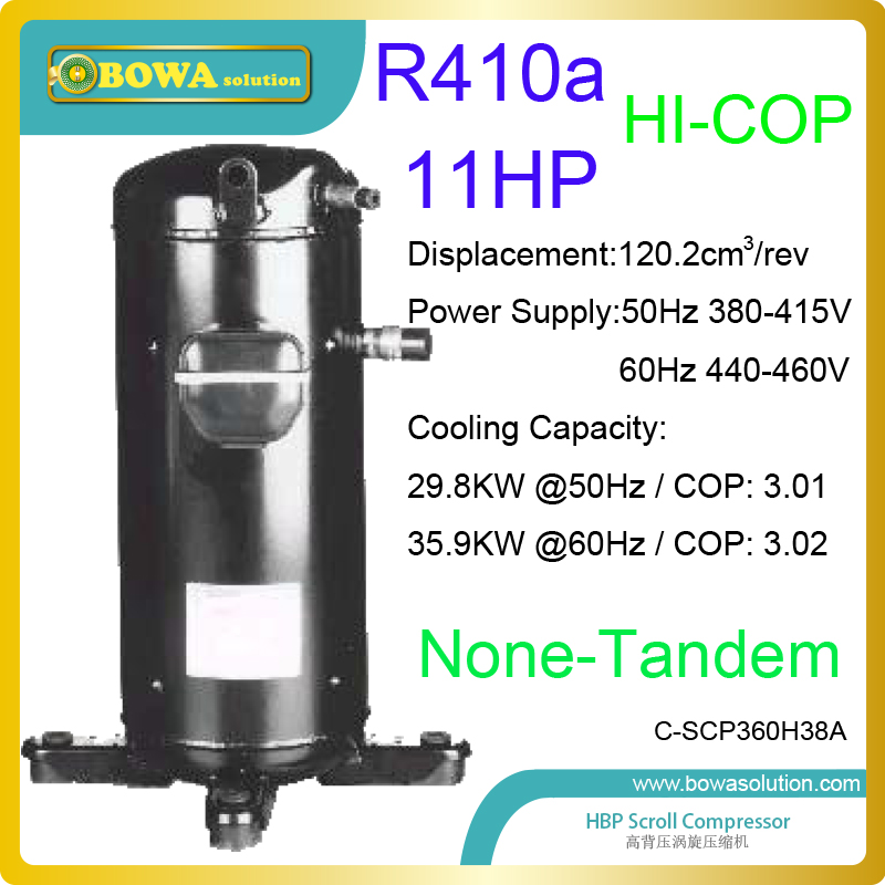 11HP R410a scroll compressors is good choice for 3-in-1 heat pump water heater and air conditioners for resturants and hotels 11kw heating capacity r410a to water and 4 5mpa working pressure plate heat exchanger is used in r410a heat pump air conditioner