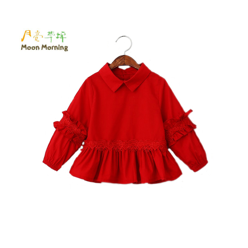 Moon Morning Girls Blouse Cotton Red Lantern Sleeve Children Tops Button Woven Ruffles Brand Designer China Clothes Spring 2 8T