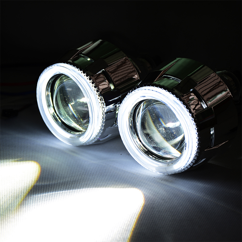 LHD 35W 2.5 Inch HQE HID Bi Xenon Headlight Projector Lens Car Styling Shrouds Glasses CCFL Angle Eye H1 H7 H4 Without Ballast lhd 35w 2 8 inch hid bixenon headlight headlamp projector lens full retrofit kit car angle eye halo h7 h4 ballast xenon bulb