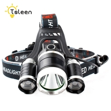 TSLEEN LED Headlamp 5000LM CREE T6 2 R2 Chips Headlight Rechargeable font b Bicycle b font