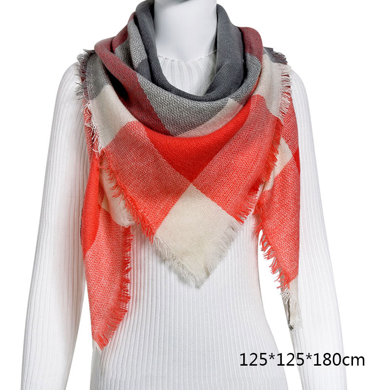 Горячая Распродажа, Модный зимний шарф, Женские повседневные шарфы, Дамское Клетчатое одеяло, кашемировый треугольный шарф,, Прямая поставка - Цвет: B12