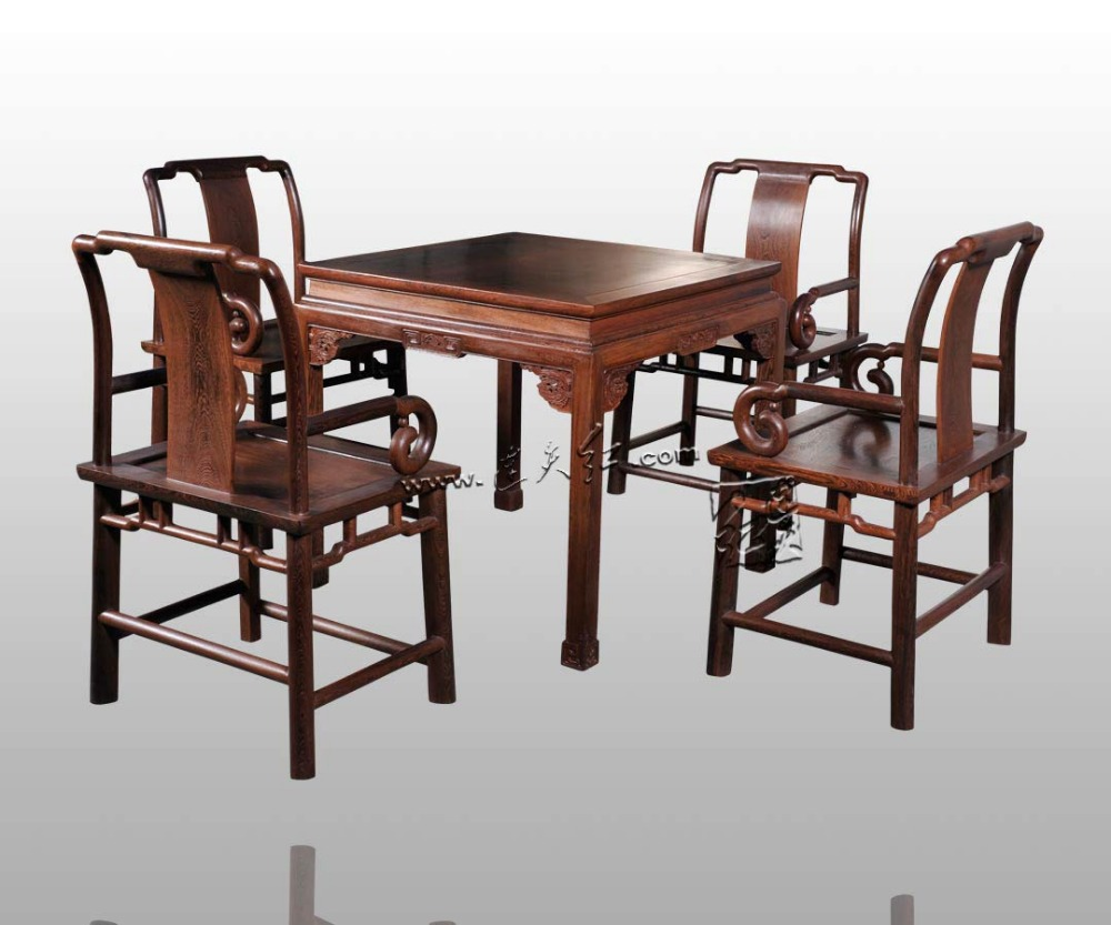 Dining Living Room Furniture Set 1 Table & 4 Chair Rosewood China Carven Crafts Annatto Solid Wood Square Desk Mahogany Armchair classical rosewood armchair backed china retro antique chair with handrails solid wood living dining room furniture factory set