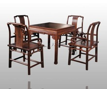Dining Living Room Furniture Set 1 Table & 4 Chair Rosewood China Carven Crafts Annatto Solid Wood Square Desk Mahogany Armchair