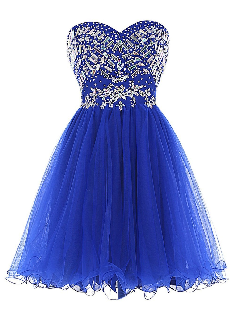 Royal Blue Tulle Prom Dresses Sweetheart Crystal Beadings ...