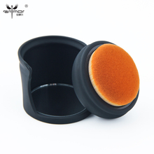 Anmor round shaped Foundation Brush with brush holder and makeup mirror Professional Make up Brushes Black YD-02