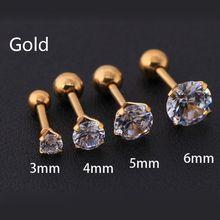 Серьги Стразы из нержавеющей стали с золотым кристаллом и цирконием