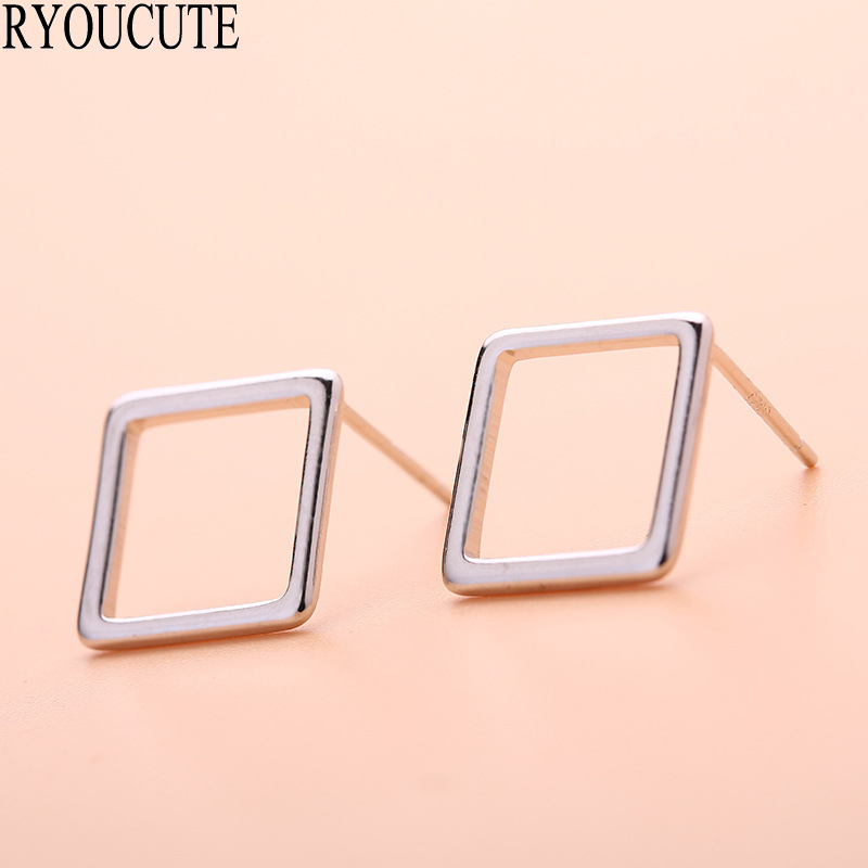 Silver Color Square Stud Earrings For Women Wedding Jewelry Brincos Pendientes Cute Korean Earrings