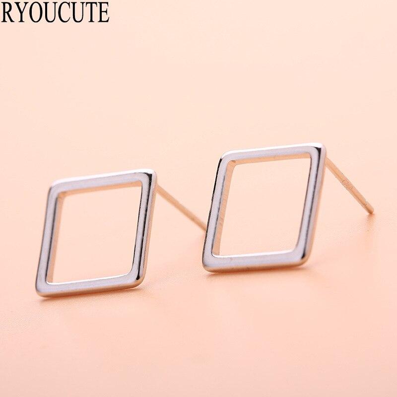 Silver Color Square Stud Earrings For Women Wedding Jewelry Brincos Pendientes Cute Korean Earrings