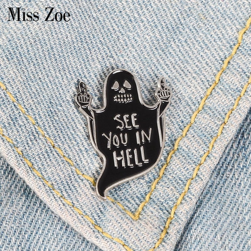 Black Ghost Middle Finger Enamel Pin See you in hell Badge Brooches Bag Clothes Lapel pin Funny Punk Gothic Jewelry Gift signage