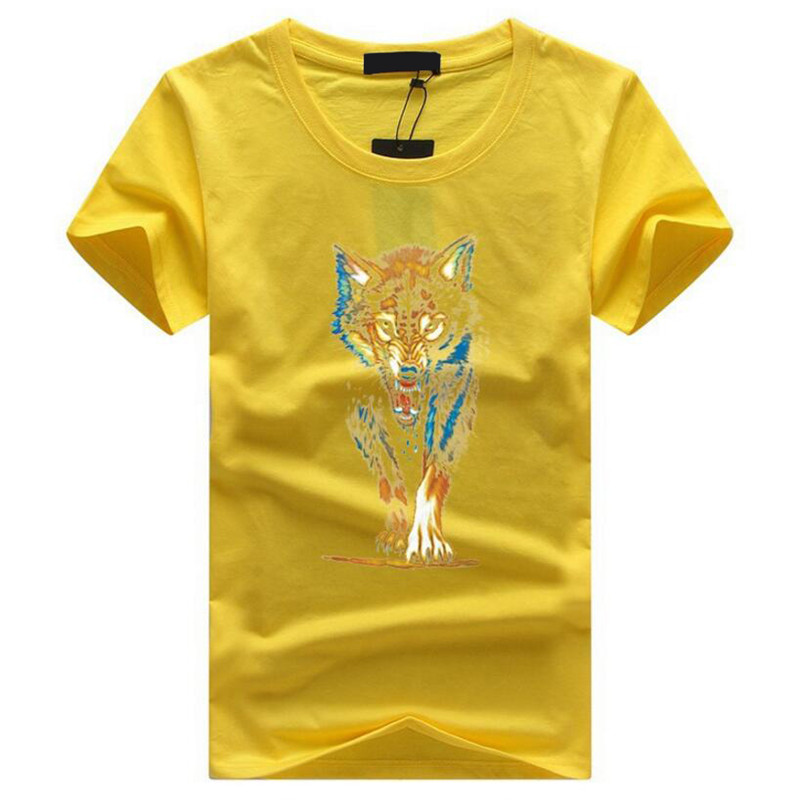 T Shirt Men 2018 Brand Summer Mens Fashion Cottont Short Sleeve Animal Wolf Head Print T-shirts Homme O-neck Collar Cool Tees