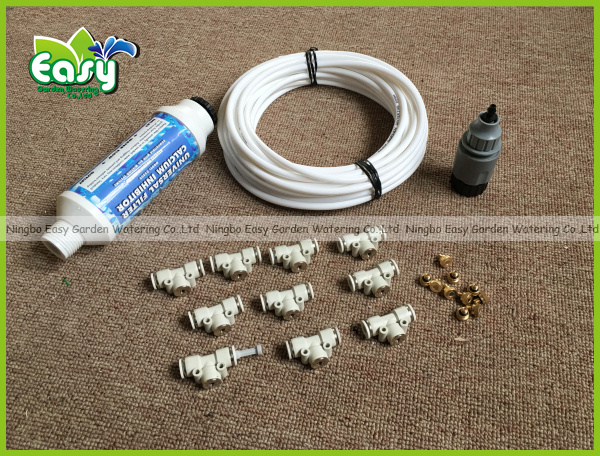 WHITE 10pcs nozzles Outdoor cooling system with filter and brass sprayer fog misting system patio cooling