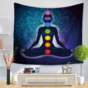 Image 4 - Indian Buddha Standbeeld Tapijt Muur Opknoping Muur Doek Chakra Wandtapijten Psychedelische Yoga Tapijt Woondecoratie