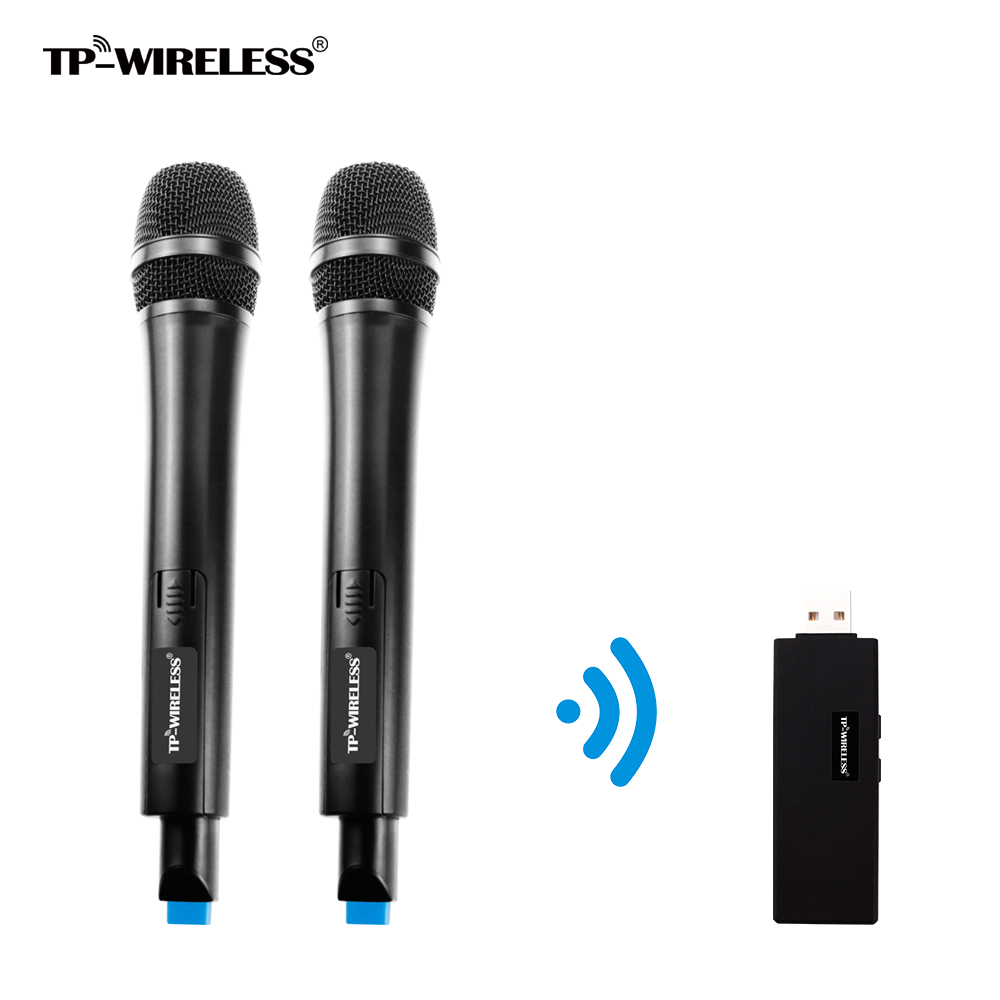 UHF Wireless Dual-Channels TP-Wireless Microphone for Karaoke,Conference,Lecture,Wedding,Recording,2Transmitters and 1Receivers