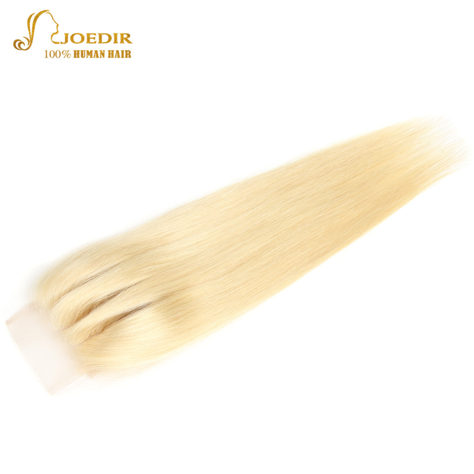 Image 3 - Joedir Hair Brazilian Straight Human Hair Lace Closure With Baby Hair 613 Blonde Color Lace Closure Three Part Remy Hair Weaving-in Closures from Hair Extensions & Wigs