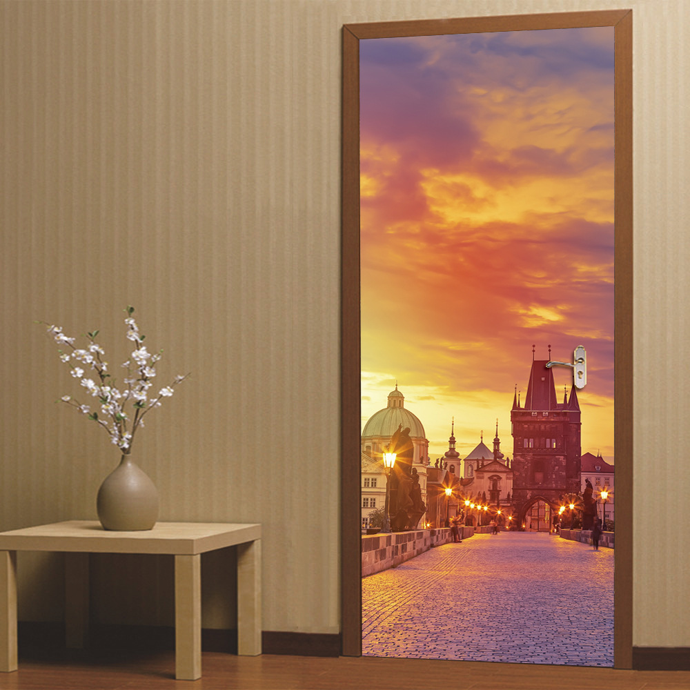 3D Door Sticker wallpaper Prague Square Bell Tower Decorative Wall Stickers for Living Room Self-adhesive Wall Home Decoration лежаки для животных