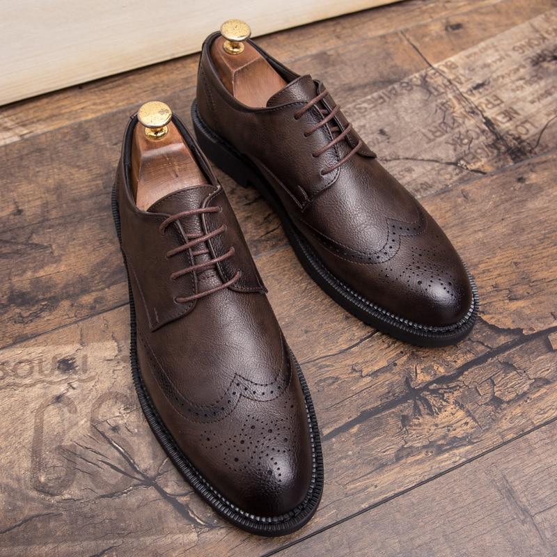 Misalwa Plus Size 38-47 Men Brogue Fashion Oxford Dress Shoes Male Well-dressed Gentleman Handcrafted Footwear For Modern Men