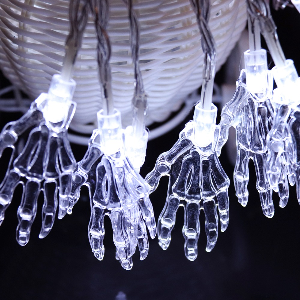 1m Halloween String Light Skeleton Hand LED Garland Holiday Decoration Battery Operated For Party Christmas JQ