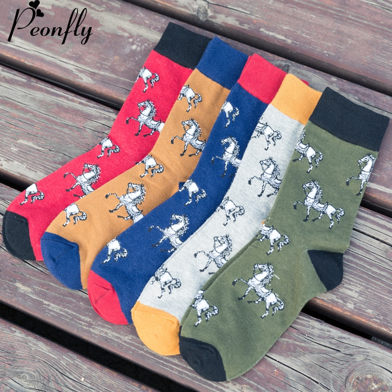 Printed horse Cotton Funny male   Socks   Fashion Mens Happy   socks   High Quality Chaussette Homme Style 5 pairs/lot